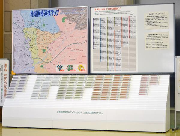 甲府市立病院・地域医療連携マップ・医療機関紹介カードA6版リーフレットボックス
