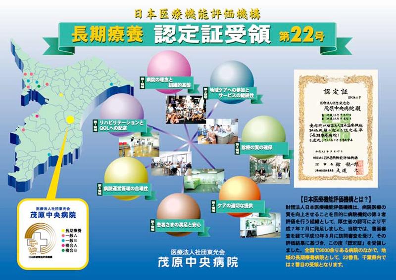 茂原中央病院日本医療機能評価機構認定証受領ポスター1998年制作